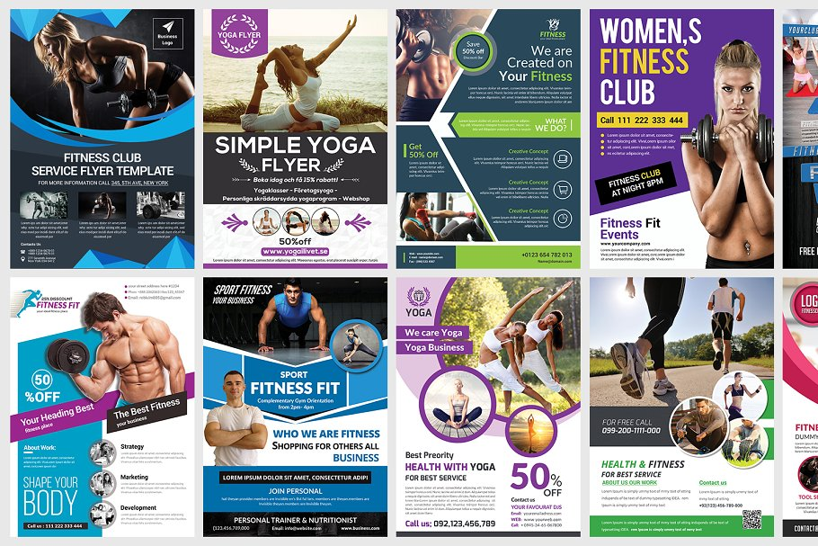 Fitness Flyers Bundle Template Flyer Templates Creative Market Pro