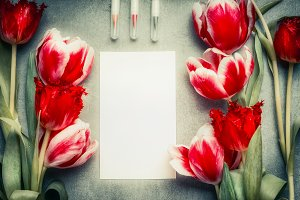 Greeting card mock up with tulips