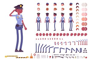 Young black policewoman character creation set