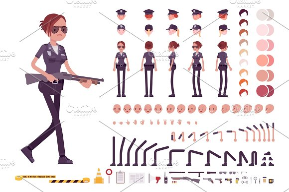 Young Policewoman Character Creation Set