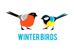 Winter birds are tit and bullfinch.