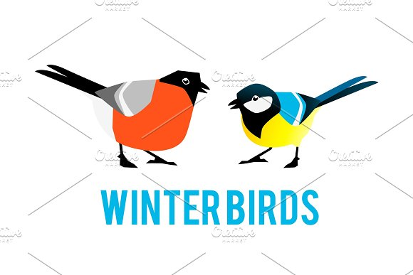Winter Birds Are Tit And Bullfinch