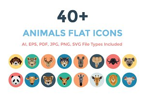 40+ Animals Flat Icons