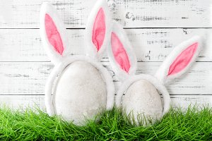 Easter bunnies in green grass