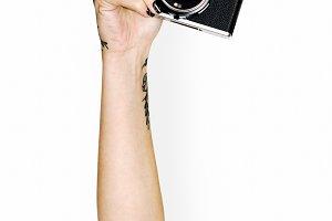 Hand holding camera (PSD)