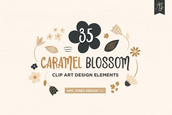 Floral Clipart Set Caramel Blossom