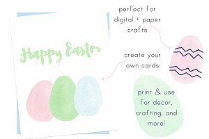 Watercolor Pastel Eggs Clip Art