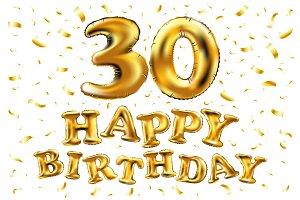 happy birthday 30 gold balloon