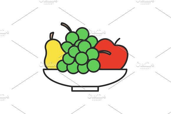 Bowl With Fruit Color Icon