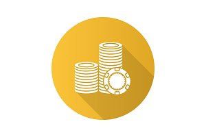 Casino chips stack flat design long shadow glyph icon
