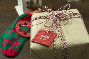craft paper gift box, tied with cord