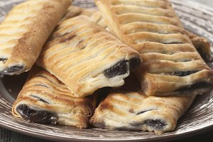 Small strudel cake with blueberry