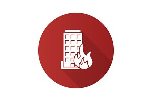 Burning building flat design long shadow glyph icon