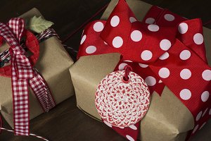 gift box with ribbon and bow, red a
