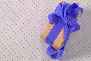 gift box with ribbon, Blue polka dot