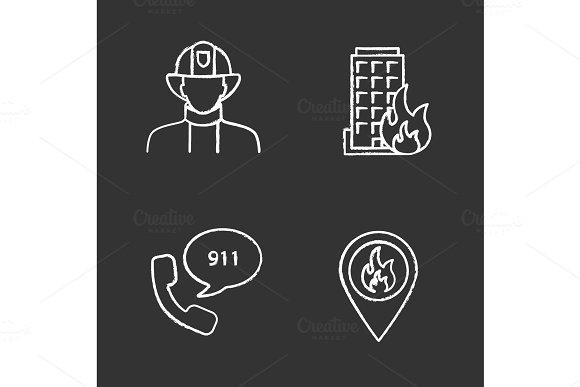 Firefighting Chalk Icons Set