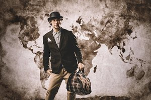 Old-fashioned traveler standing with