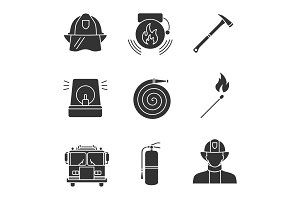Firefighting glyph icons set