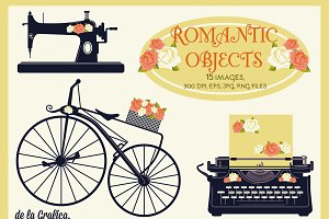 15 Romantic Objects. Vector Set