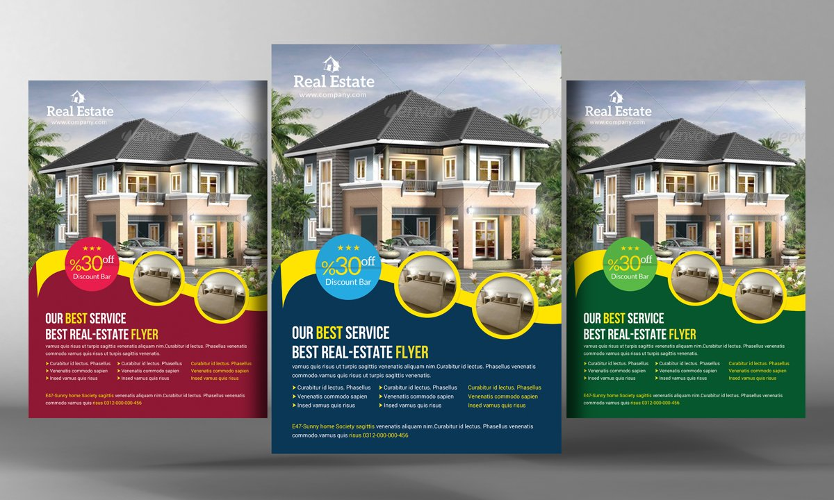 Real Estate Flyer Template Flyer Templates Creative Market - Property brochure template
