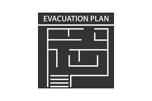 Evacuation plan glyph icon
