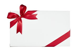 White gift box tied red ribbon  whit