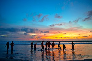 Sunset beach in Kuta, Bali