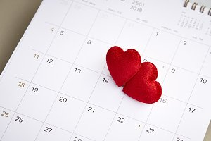calendar with red mark on 14 Februar
