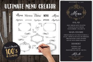 Menu PSD Template Mockup Elements