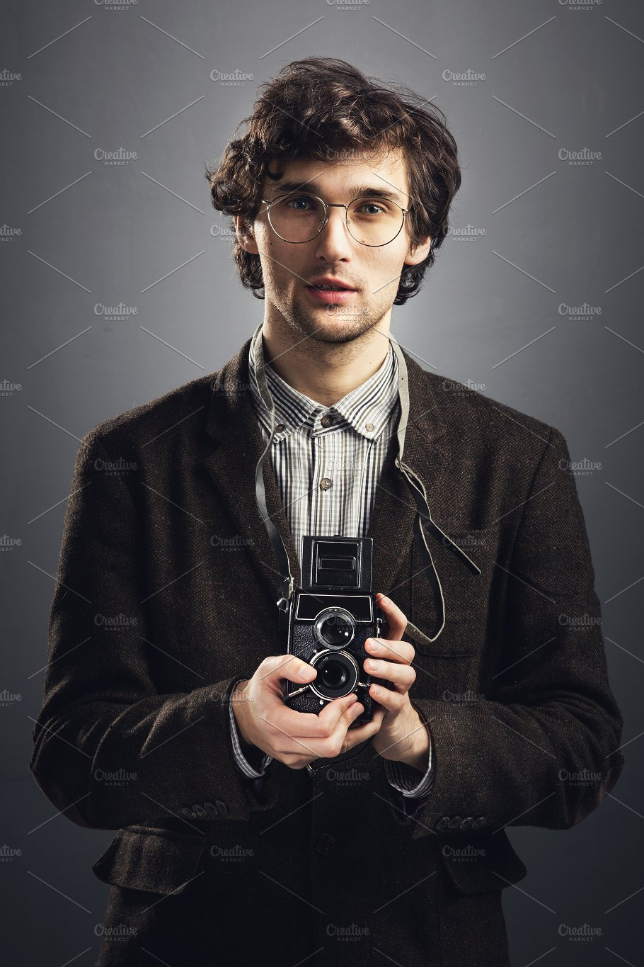 90203555d3577 Man in vintage suit with retro camer ~ People Images ~ Creative Market