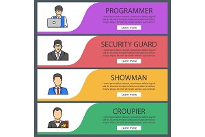 Professions web banner templates set