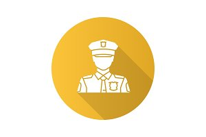 Policeman flat design long shadow glyph icon