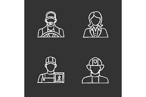 Professions chalk icons set