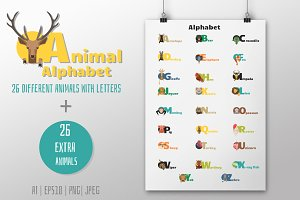 52 Animals alphabet letters + Bonus