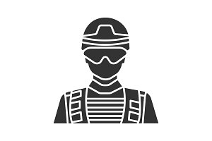 Soldier glyph icon