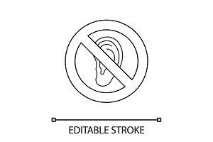 Forbidden sign with ear linear icon