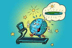 fun Fat Earth on the treadmill. Dream to lose weight. Sport fitn