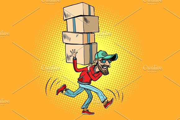 courier delivery, the employee quickly runs