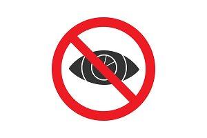 Forbidden sign with eye glyph icon