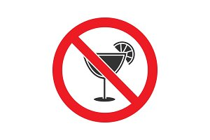 Forbidden sign with cocktail glyph icon