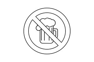 Forbidden sign with beer mug linear icon