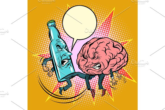 Alcohol versus intelligence, a bottle of beat the brain in Illustrations