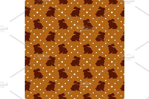 Cute geometric Easter seamless pattern design with bunny and dots