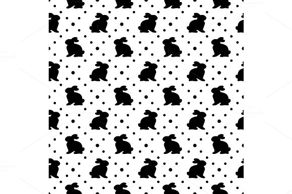 Cute geometric Easter seamless pattern design with bunny and dots in Objects
