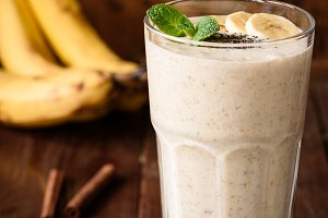 Banana smoothie in tall glass