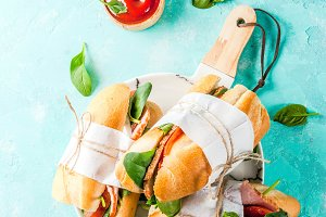 Fresh baguette sandwiches