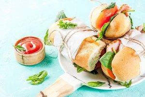 Fresh baguette sandwiches
