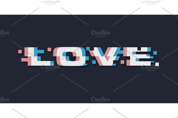 Glitch Love Abstract Lettering