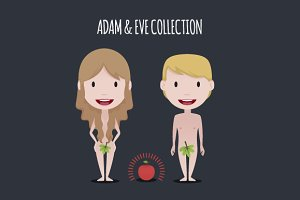 Adam & Eve illustration set