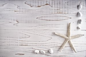 White sea star on wooden desk.